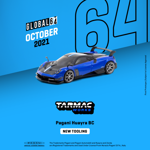 Vororder Tarmac T64G-TL014-BL Pagani Huayra BC blau/schwarz Maßstab 1:64