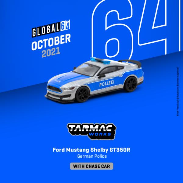 Vororder Tarmac T64G-011-GP Ford Mustang Shelby GT350R Polizei silber/blau Maßstab 1:64