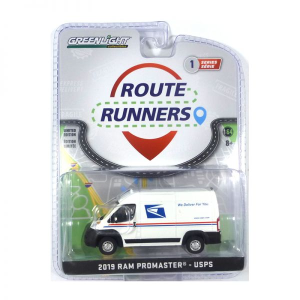 """Greenlight 53010-F RAM Promaster """"USPS"""" weiss - Route Runners Maßstab 1:64"""