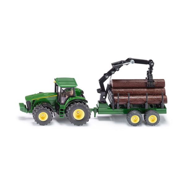 Siku 1954 John Deere 8430 Traktor mit Forstanhänger grün Maßstab 1:50