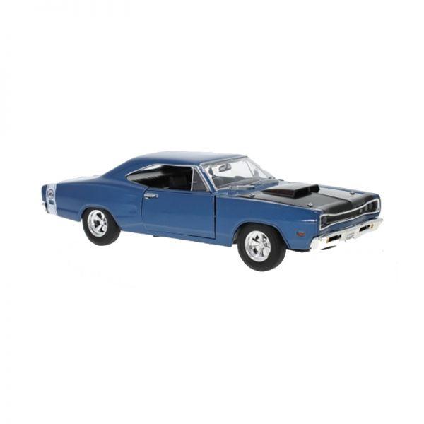 Motormax 73315 Dodge Coronet Super Bee blau/schwarz 1969 Maßstab 1:24