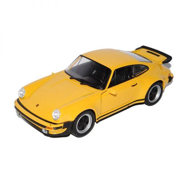 Welly 24043 Porsche 911 Turbo 3.0 gelb Maßstab 1:24 Modellauto
