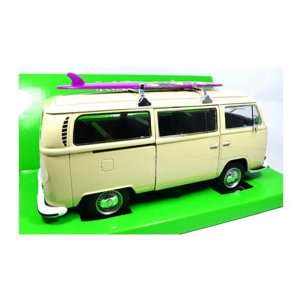 Welly 22472 VW T2 Bus beige mit Surfbrett 1972 Maßstab 1:24 Modellauto