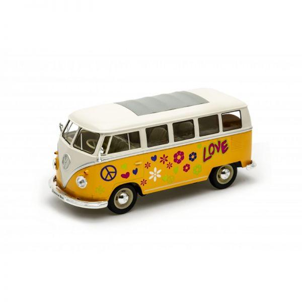 "Welly 22095A3 VW T1 Bus ""Flower Power"" dunkelgelb/weiss Maßstab 1:24 Modellauto"