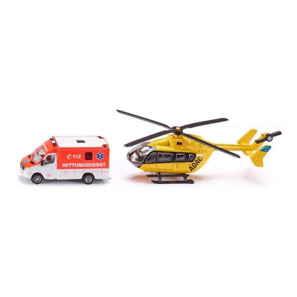 """Siku 1850 Rettungsdienst-Set """"ADAC"""" Krankenwagen+Hubschrauber Maßstab 1:87"""