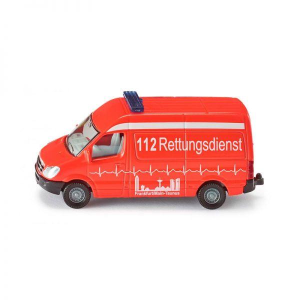 Siku 0805 Mercedes Benz Sprinter Krankenwagen 112 Rettungsdienst Frankfurt/M-Taunus leuchtfarb