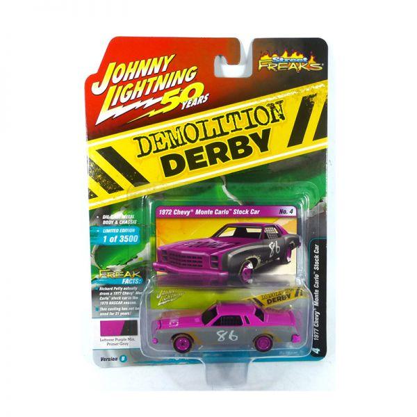 Johnny Lightning JLSF014-B4 Chevrolet Monte Carlo Stock Car #86 pink - Demolition Derby Maßstab 1:64